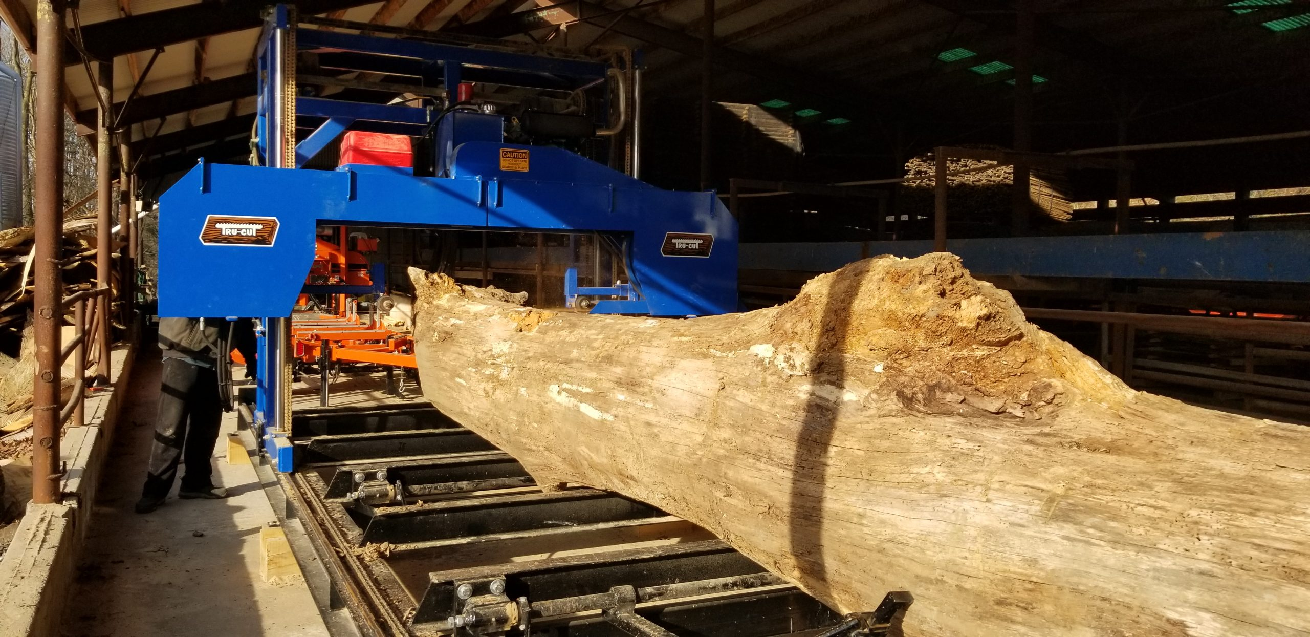 log going through saw mill