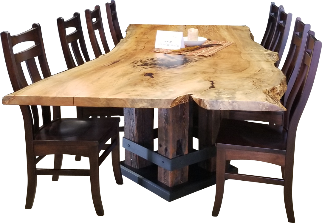 live edge wood spalted maple dining table
