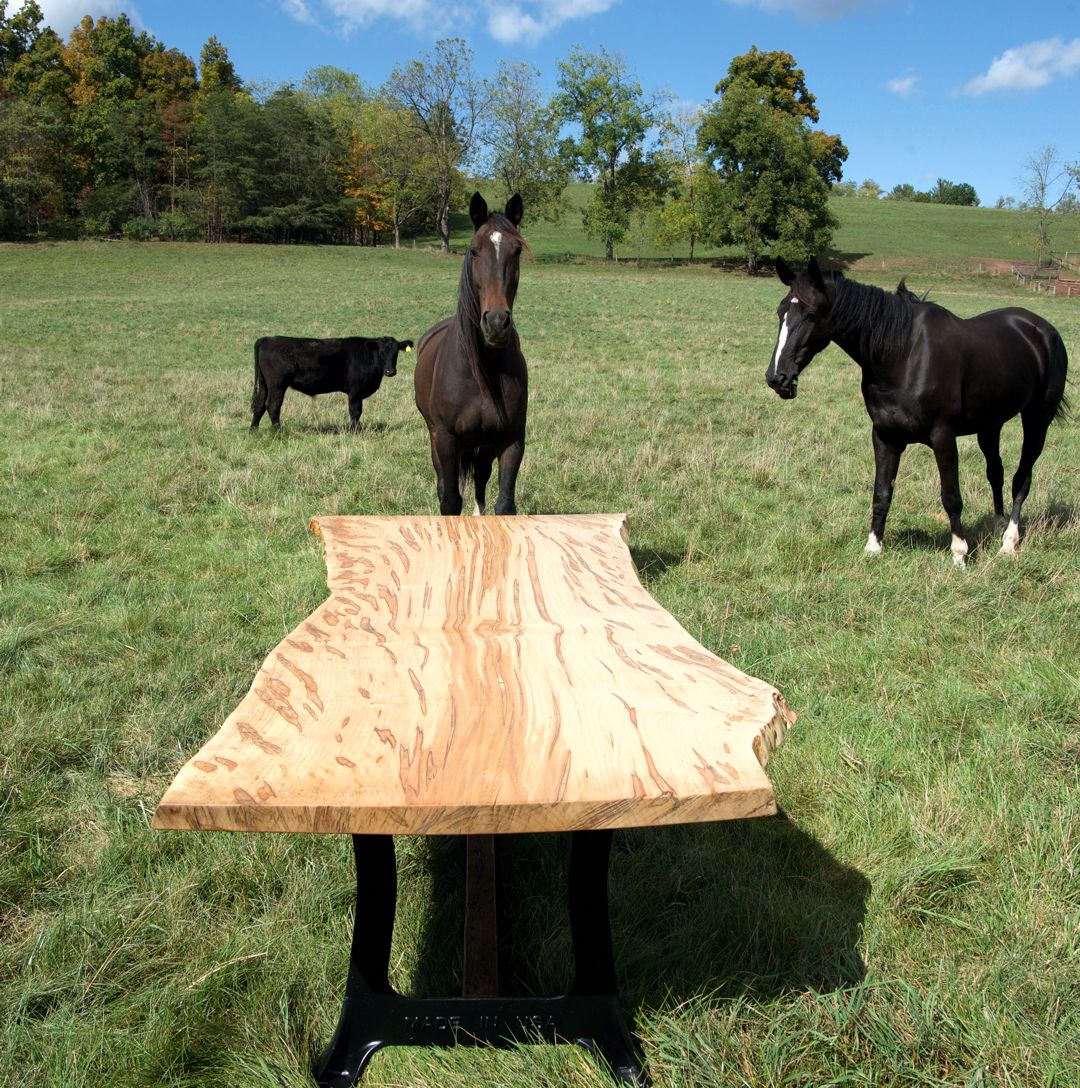 live edge wood table and chairs